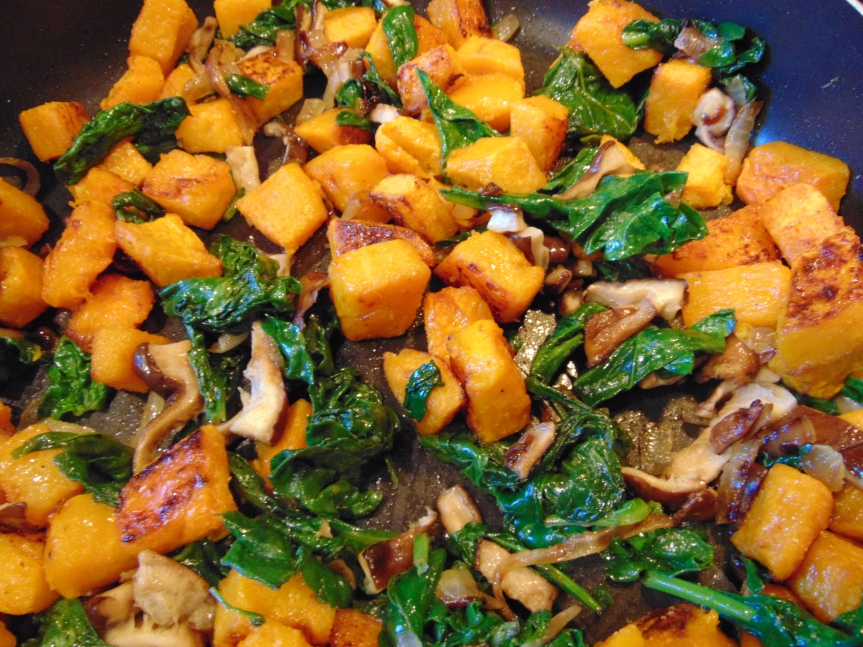 Roasted Butternut Squash, Spinach and Mushrooms