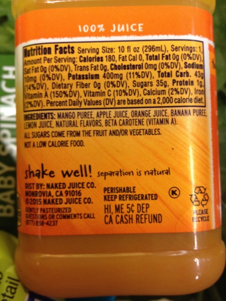 Here's a single serving juice from the health food section. 35 grams of sugar. That's not even added sugar. Its just from fruit, however, they stripped out all the fiber!